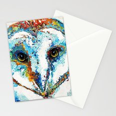 Colorful Barn Owl Art - Birds by Sharon Cummings Stationery Cards