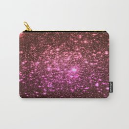 Galaxy Sparkle Stars : Coral Burgundy Pink Carry-All Pouch