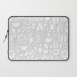 paper cut flowers white silver Laptop Sleeve