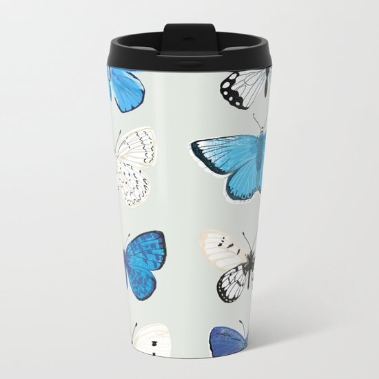 Lepitoptery No. 2 - Blue and White Butterflies and Moths Metal Travel Mug