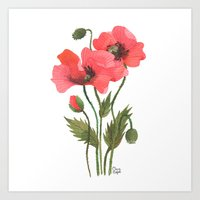 poppies Art Prints featuring POPPIES by Oana Befort