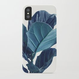 Fiddle Leaf Fig Plant, Blue Minimalist Nature Photography iPhone Case