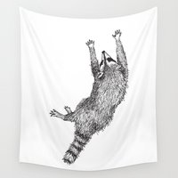 raccoon Wall Tapestries featuring Raccoon by Audrey Fortin