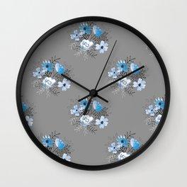 Blue Watercolor Bouquet Wall Clock