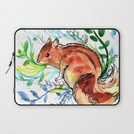 Cute Korea squirrel in sping flowers Laptop Sleeve