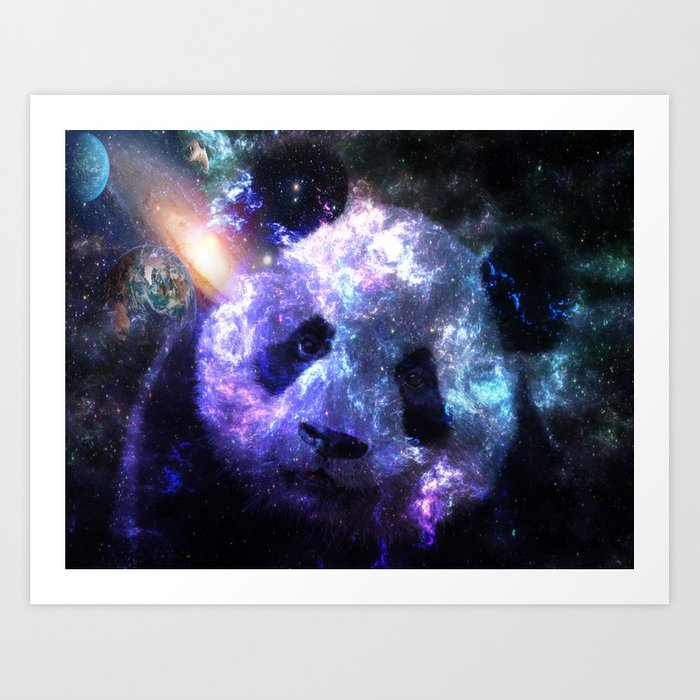 Galaxy Panda Planet Colorful Art Print By Lemoboy Society6
