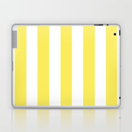 Maize yellow - solid color - white vertical lines pattern Laptop & iPad Skin