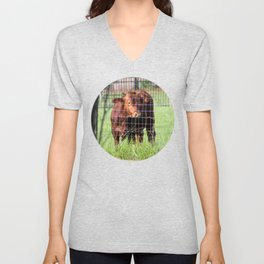 Cow Beyond the Fence Unisex V-Neck