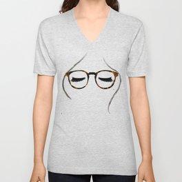 Tortoiseshell Glasses Brunette Unisex V-Neck
