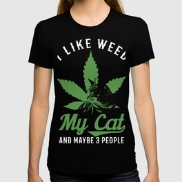 I like Weed | Funny Cat Lover Weed Smoker Pot Fan product T-shirt