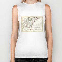 Thirteen Colonies Vintage Map (1776) Biker Tank