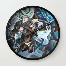 Three Men Playing Cards  Wall Clock
