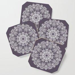hand drawn white mandala on dark violet background Coaster