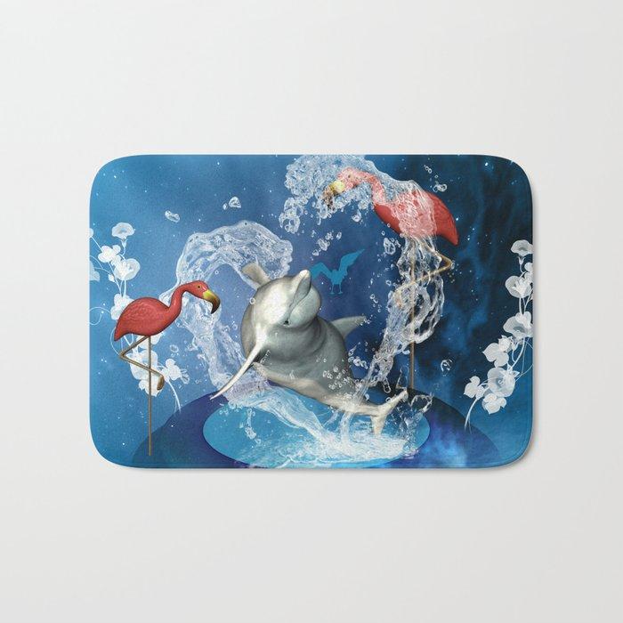 Dolphin jumping by a heart Bath Mat