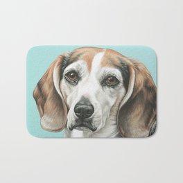 Sweet Beagle Painting, Distinguished Older Beagle Portrait Bath Mat