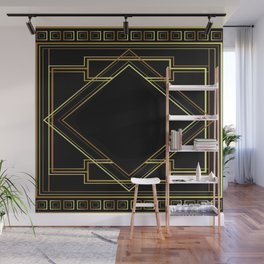 art deco gatsby black and gold lines geometric pattern Wall Mural