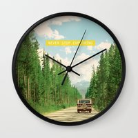 never stop exploring Wall Clocks featuring NEVER STOP EXPLORING IV by Leslee Mitchell