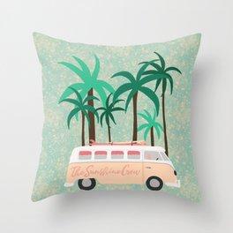 Road Trip Van Illustration Throw Pillow