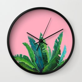 tropical cute leaves pink Wall Clock