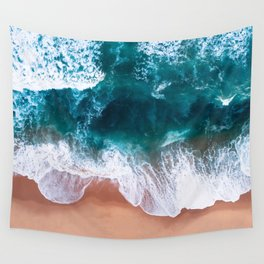 Aerial Foam Beach Wall Tapestry