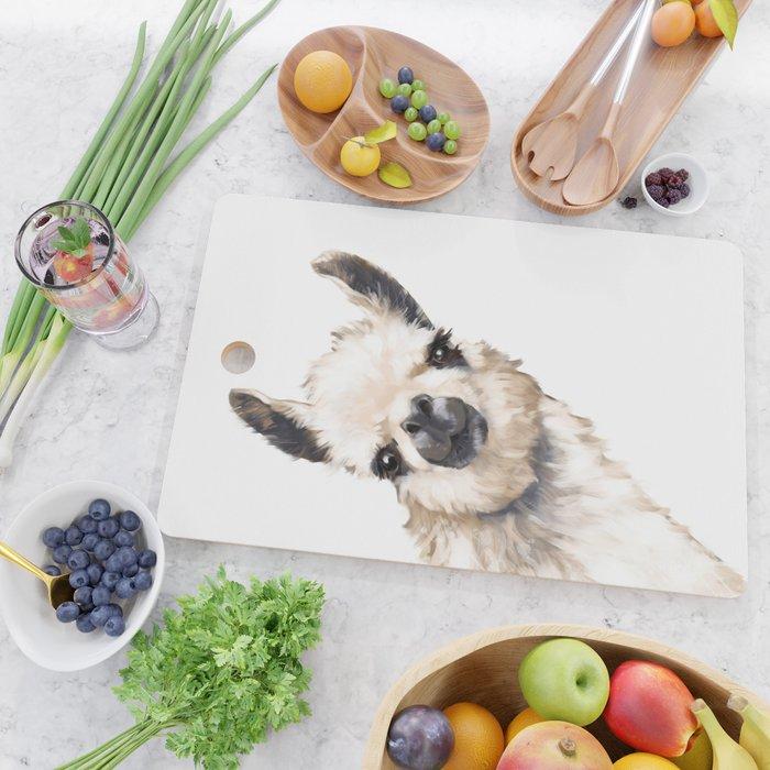 Sneaky Llama White Cutting Board