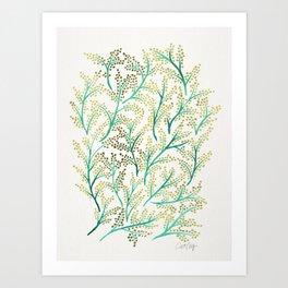 Green & Gold Branches Art Print