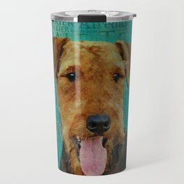 Airedale Terrier Portrait on Word Art Travel Mug