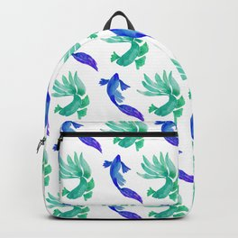 Tropical Fish Pattern (blue and sea foam green palette) Backpack