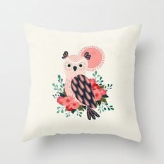 Owl and Blossoms Throw Pillow