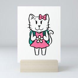 Cat School Entrance Children cartoon gift Mini Art Print