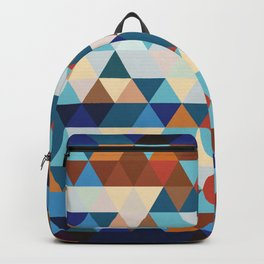 Geometric Triangle Blue, Brown  - Ethnic Inspired Pattern Backpack