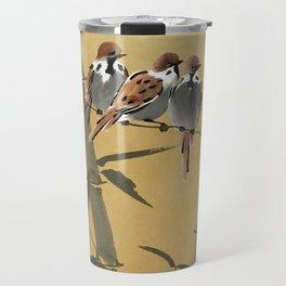 Three Sparrows In Bamboo Tree Travel Mug
