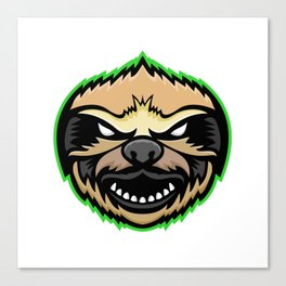 Angry Sloth Mascot Canvas Print
