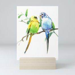 Budgies, Animal art, love, two birds bird artwork, bird pet Mini Art Print