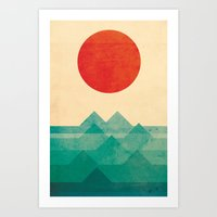 vintage map Art Prints featuring The ocean, the sea, the wave by Picomodi