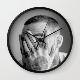Mac Miller Black And White Portrait Wall Clock