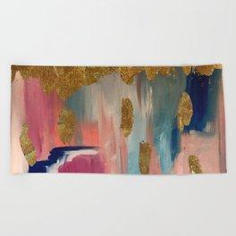 Gold Leaf & Indigo Blue Abstract Beach Towel