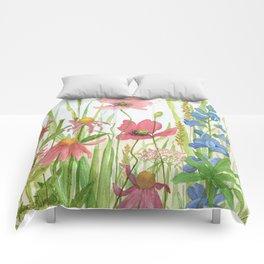 Watercolor Garden Flower Poppies Lupine Coneflower Wildflower Comforters