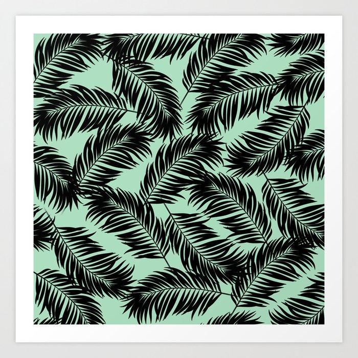 a42b25e49ce6 Palm Frond Tropical Décor Leaf Pattern Black on Mint Green Art Print ...