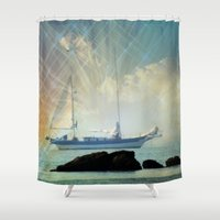 sailing Shower Curtains featuring Sailing by Sharlee
