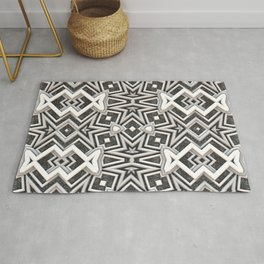 Gray to White - Tribal Pattern Rug
