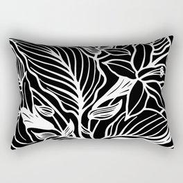 Black White Floral Minimalist Rectangular Pillow