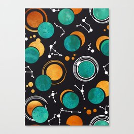 Great Total Solar Eclipse II // turquoise green moons Canvas Print
