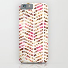 Pink Vintage Floral Girly Chevron Zig Zag Pattern iPhone 6s Slim Case