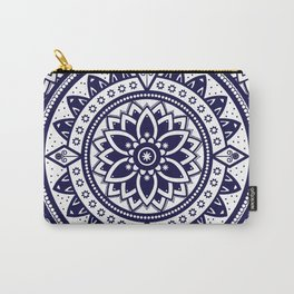 Blue & White Patterned Flower Mandala Design Carry-All Pouch