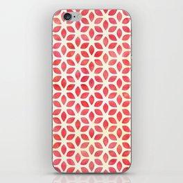 Watercolor Geometric Coral Red & Yellow Petal Pattern iPhone Skin