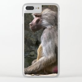 OLIVE BABOON Clear iPhone Case