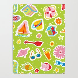 Summer Fun Green Poster