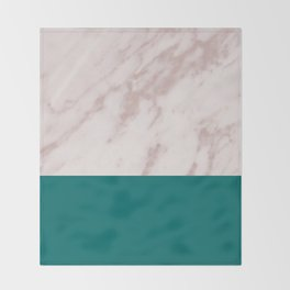 Real Rose Gold Marble and Biscay Bay Throw Blanket