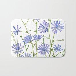 blue chicory watercolor Bath Mat